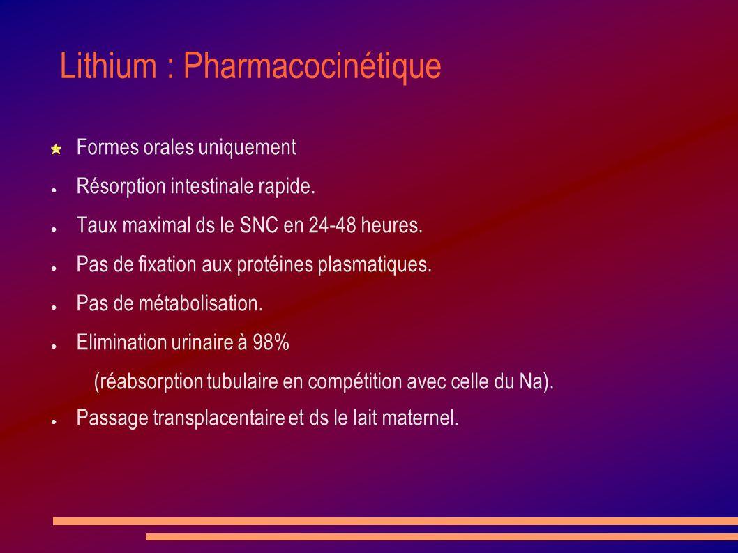 Lithium : Pharmacocinétique Formes orales uniquement Résorption intestinale rapide. Taux maximal ds le SNC en 24-48 heures. Pas de fixation aux protéi