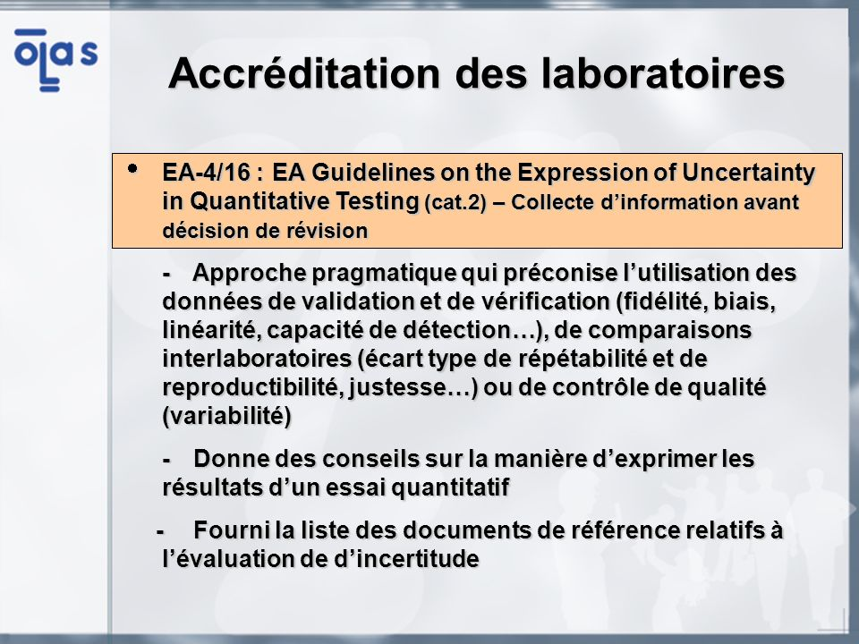 EA-4/16 :EA Guidelines on the Expression of Uncertainty in Quantitative Testing (cat.2) – Collecte dinformation avant décision de révision EA-4/16 :EA