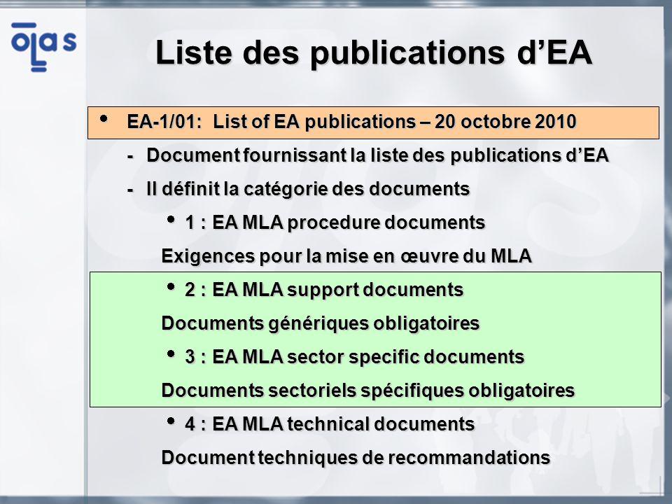 EA-2/05: The scope of accreditation and consideration of methods and criteria for the assessment of the scope in testing (cat.2) – Révision prévue par le EA-LC EA-2/05: The scope of accreditation and consideration of methods and criteria for the assessment of the scope in testing (cat.2) – Révision prévue par le EA-LC -Aide à définir la portée daccréditation dun laboratoire ainsi que la manière de lauditer -Définition de la portée daccréditation en fonction du : Domaine général (électricité, chimie, auto-immunité…) Produit considéré par les essais/analyses (sol, sang humain…) Grandeur ou élément à mesurer (tension, métaux lourd…) Méthode dessais/analyse, équipement (pH mètre, HPLC…) Etendue et/ou incertitude de mesure (lorsque applicable) Type de portée daccréditation (fixe ou flexible) -Le laboratoire doit fournir sa portée daccréditation à jour à lOA en tenant compte des modifications ou introductions de nouvelles méthodes Accréditation des laboratoires