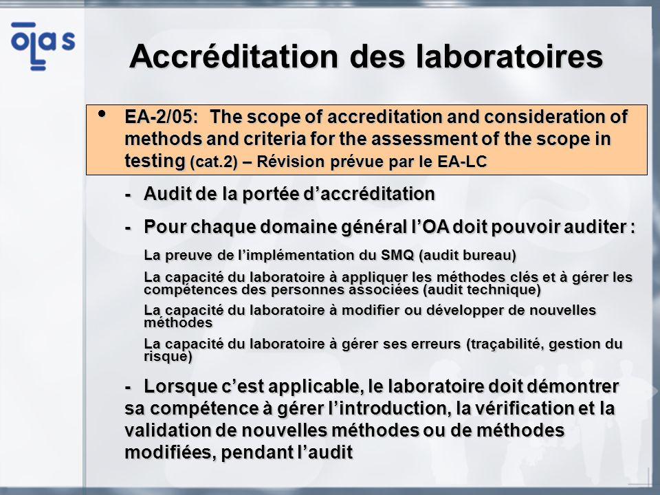 IAF/ILAC A4 (EA-5/01) : EA Guidance on the application of ISO/CEI 17020 (équivalent cat.2) IAF/ILAC A4 (EA-5/01) : EA Guidance on the application of ISO/CEI 17020 (équivalent cat.2) - Guide obligatoire pour laccréditation des organismes dinspection selon lISO/IEC 17020, par les OA signataires du MLA ou en cours -Précise certaines exigences telles que lindépendance, limpartialité et lintégrité, les méthodes dinspection, les installations et les équipements, le rapport dinspection et les sous-traitants -Précise certaines exigences telles que lindépendance, limpartialité et lintégrité, les méthodes dinspection, les installations et les équipements, le rapport dinspection et les sous-traitants -Fourni un exemple de layout dun certificat ainsi quun exemple dannexe technique -Fourni un exemple de layout dun certificat ainsi quun exemple dannexe technique Accréditation des organismes dinspection