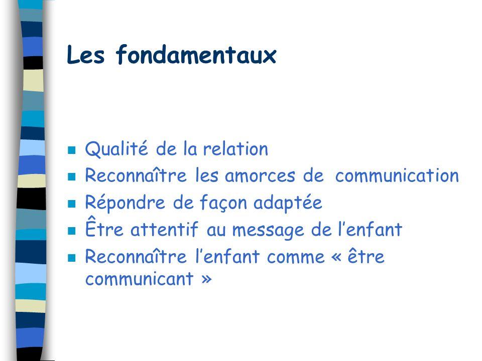Communication et Acquisition du langage n Interactions avec lenfant n Communications multimodales –sons –gestes –mimiques faciales –attitudes corporel