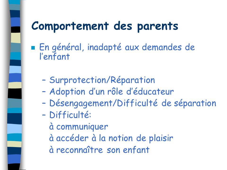 Réactions des parents n Colère, agressivité n Ressentiment n Culpabilité n Dénégation n Sentiment dimpuissance n Vulnérabilité n Dépression...