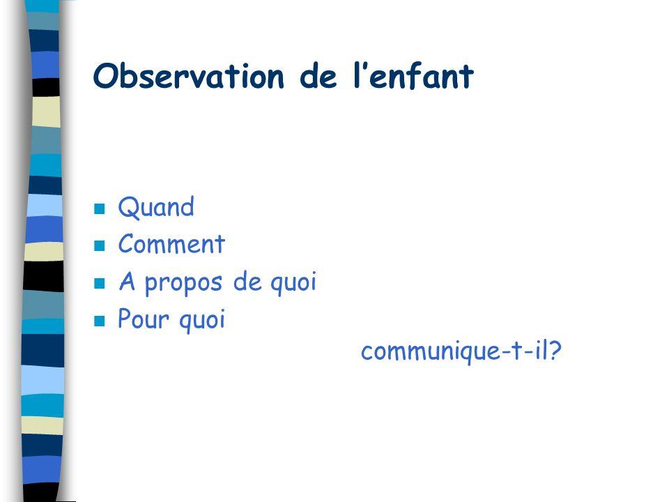 Accompagnement parental n Information sur le développement en général n Information sur le développement du langage n Reprise de linformation sur laut