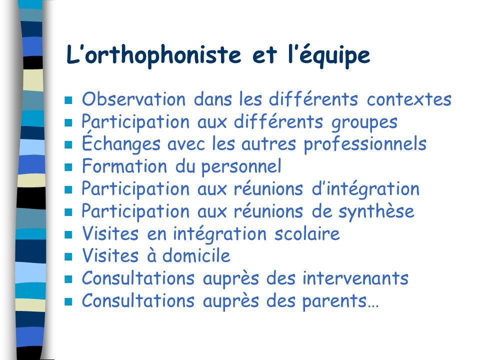 Lorthophoniste n Outre ses connaissances générales en matière de pathologies TED et des sciences du langage, en particulier de la communication pragma