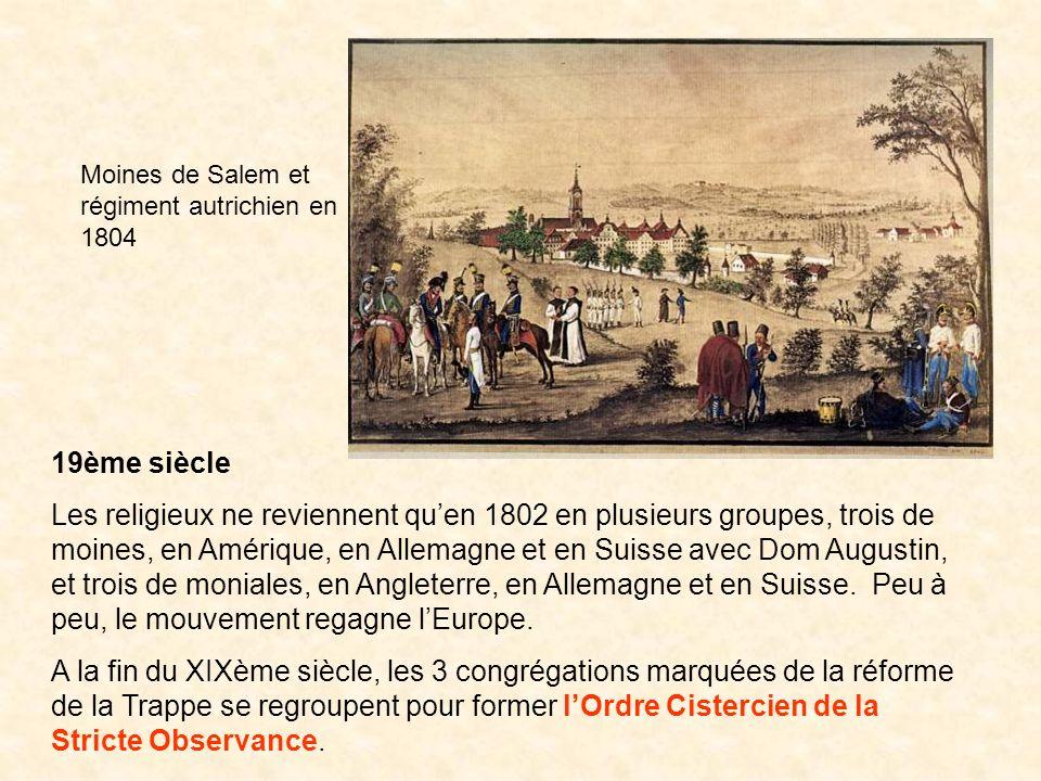 19ème siècle Les religieux ne reviennent quen 1802 en plusieurs groupes, trois de moines, en Amérique, en Allemagne et en Suisse avec Dom Augustin, et