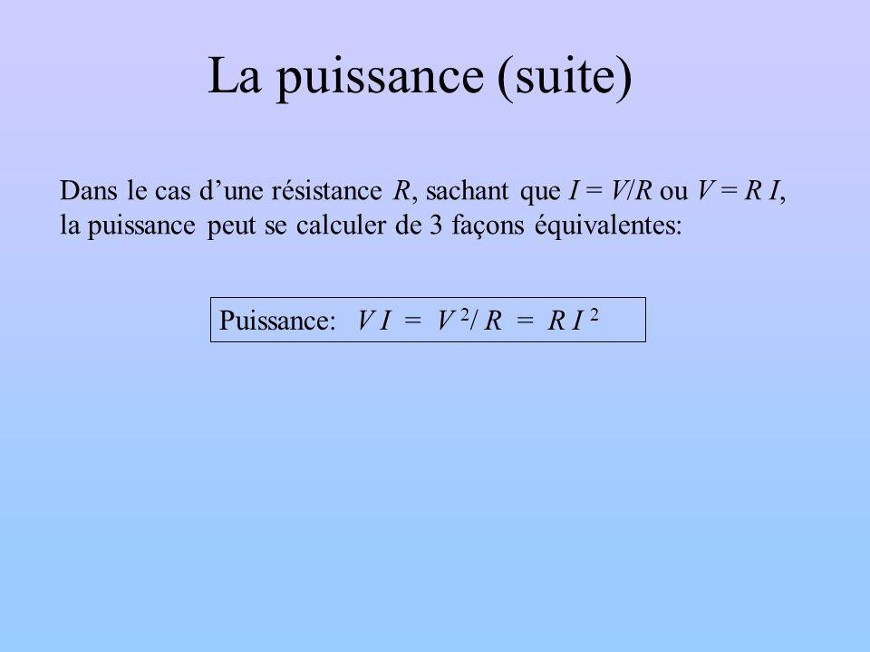 La puissance (suite) Puissance: V I = V 2 / R = R I 2 Dans le cas dune résistance R, sachant que I = V/R ou V = R I, la puissance peut se calculer de