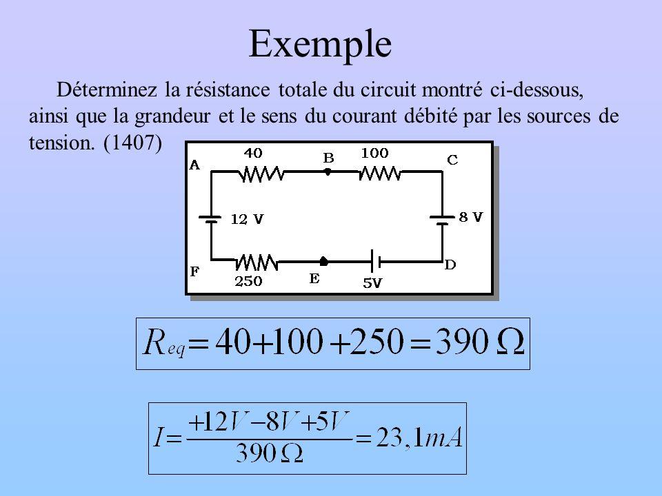 Exemple Déterminez la résistance totale du circuit montré ci-dessous, ainsi que la grandeur et le sens du courant débité par les sources de tension. (