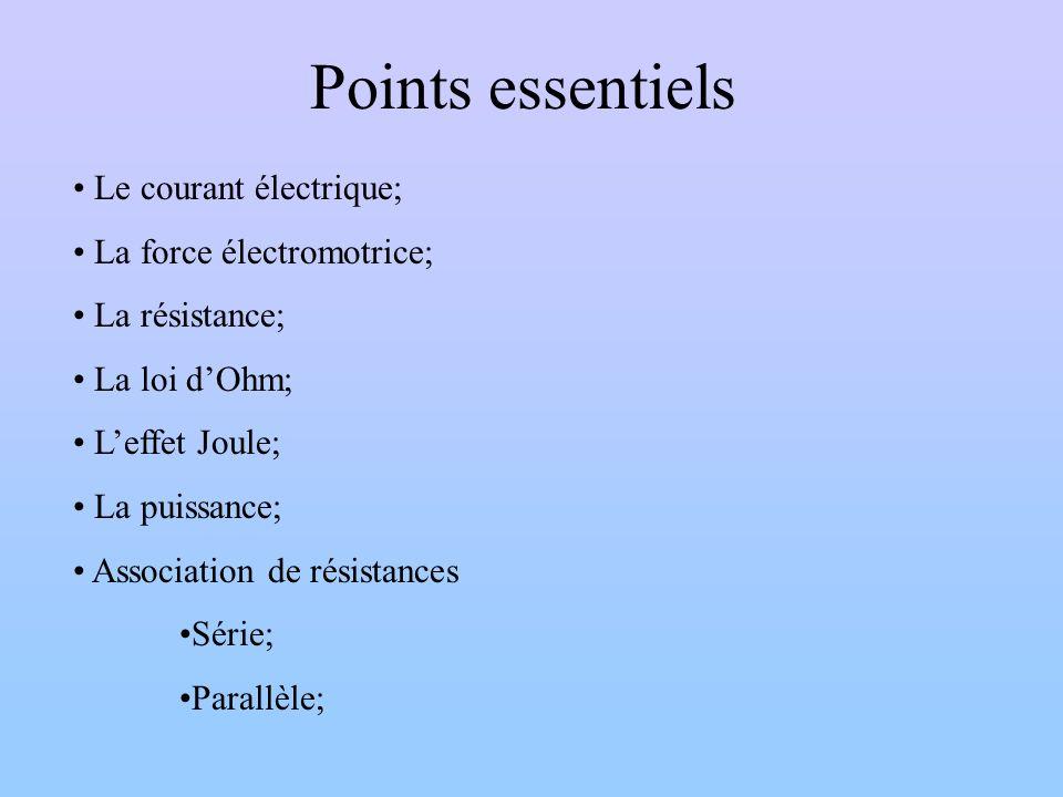 Points essentiels Le courant électrique; La force électromotrice; La résistance; La loi dOhm; Leffet Joule; La puissance; Association de résistances S
