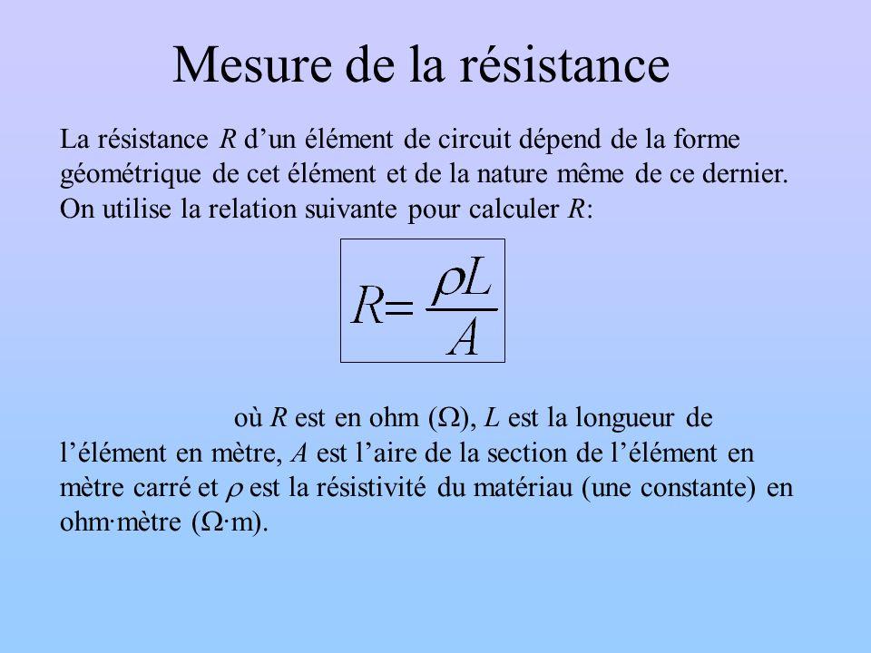 Mesure de la résistance La résistance R dun élément de circuit dépend de la forme géométrique de cet élément et de la nature même de ce dernier. On ut
