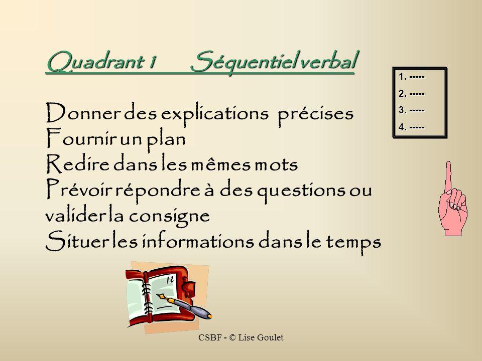 CSBF - © Lise Goulet Quadrant 1Séquentiel verbal Donner des explications précises Fournir un plan Redire dans les mêmes mots Prévoir répondre à des qu
