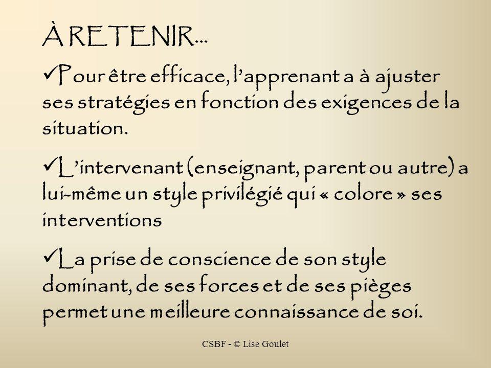 CSBF - © Lise Goulet À RETENIR... Pour être efficace, lapprenant a à ajuster ses stratégies en fonction des exigences de la situation. Lintervenant (e
