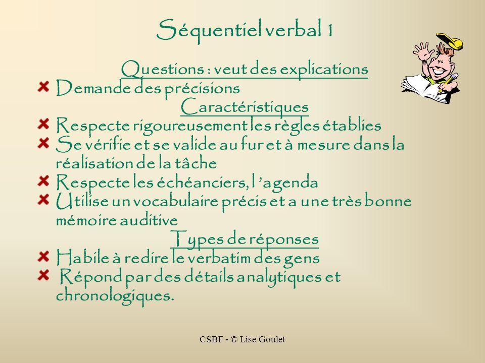 CSBF - © Lise Goulet Séquentiel verbal 1 Questions : veut des explications Demande des précisions Caractéristiques Respecte rigoureusement les règles