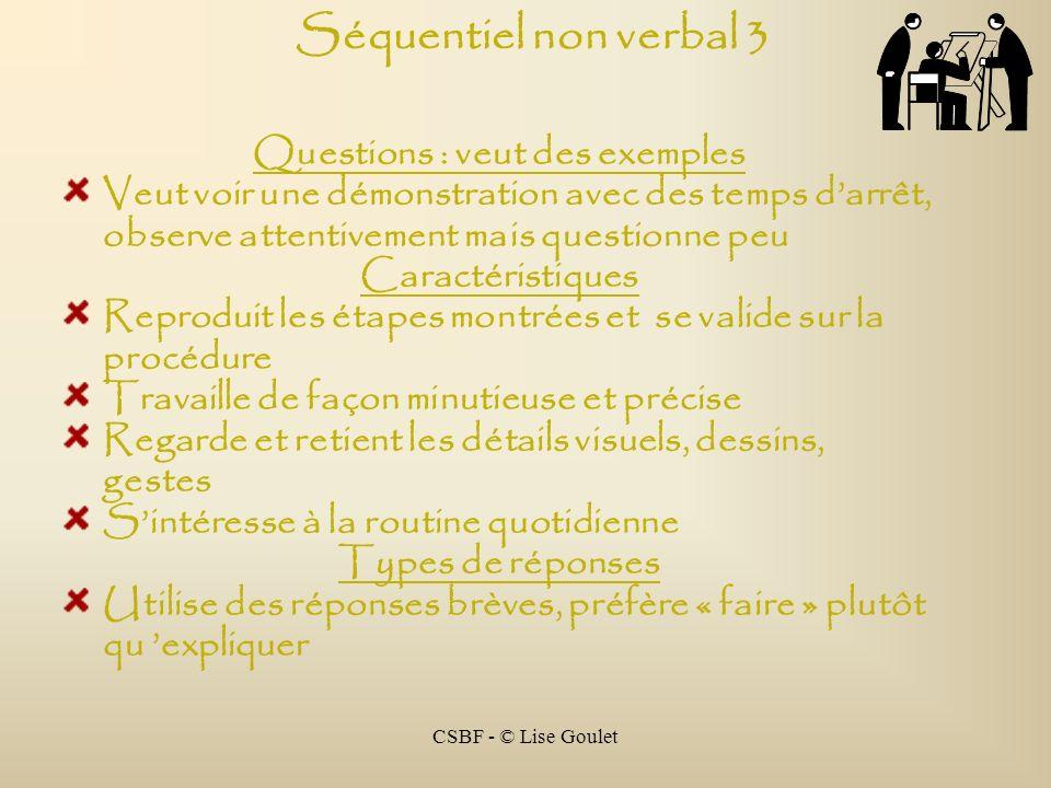 CSBF - © Lise Goulet Séquentiel non verbal 3 Questions : veut des exemples Veut voir une démonstration avec des temps darrêt, observe attentivement ma
