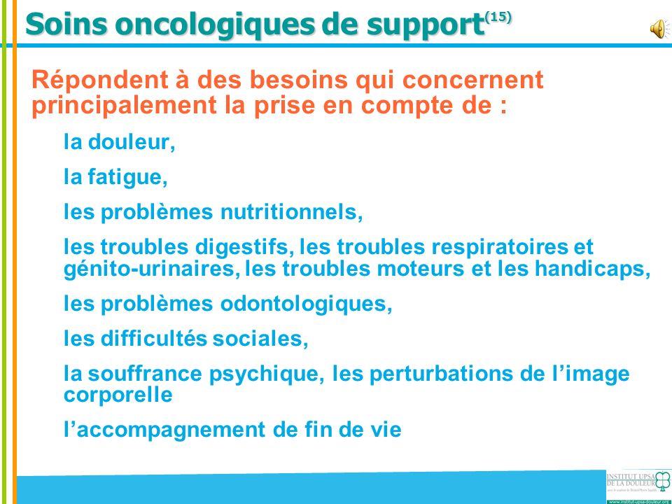 Soins oncologiques de support (15) Répondent à des besoins qui concernent principalement la prise en compte de : la douleur, la fatigue, les problèmes