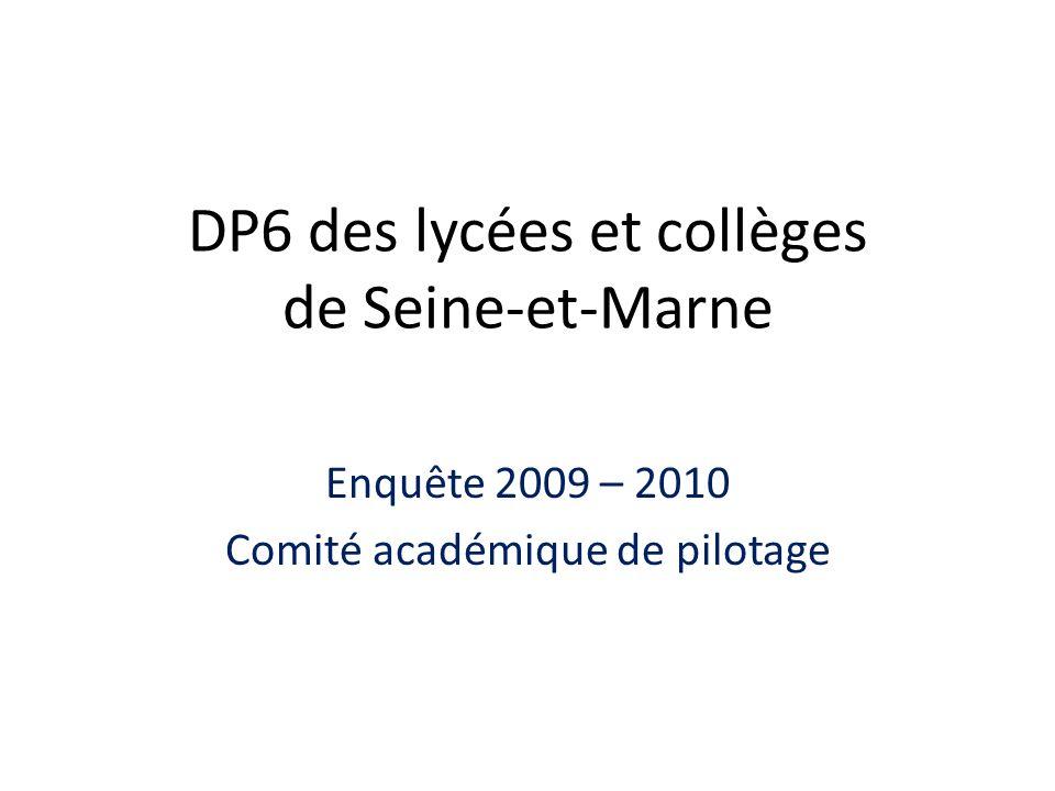 DP6 des lycées et collèges de Seine-et-Marne Enquête 2009 – 2010 Comité académique de pilotage