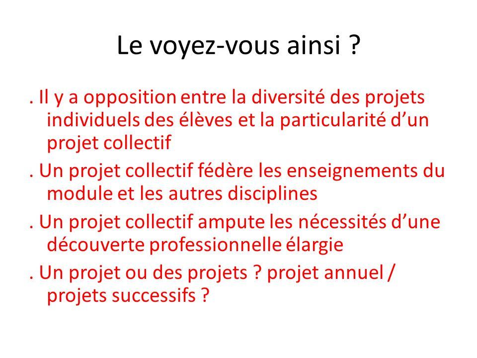 Le voyez-vous ainsi ?. Il y a opposition entre la diversité des projets individuels des élèves et la particularité dun projet collectif. Un projet col