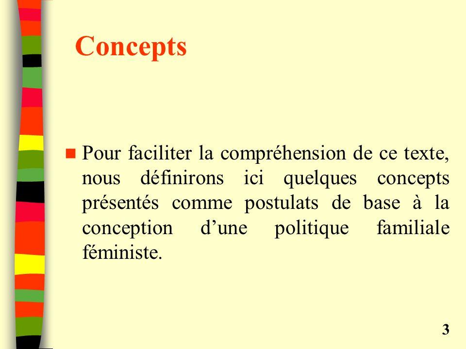 Concepts Pour faciliter la compréhension de ce texte, nous définirons ici quelques concepts présentés comme postulats de base à la conception dune politique familiale féministe.