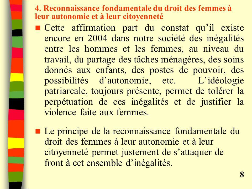 4. Reconnaissance fondamentale du droit des femmes à leur autonomie et à leur citoyenneté Cette affirmation part du constat quil existe encore en 2004