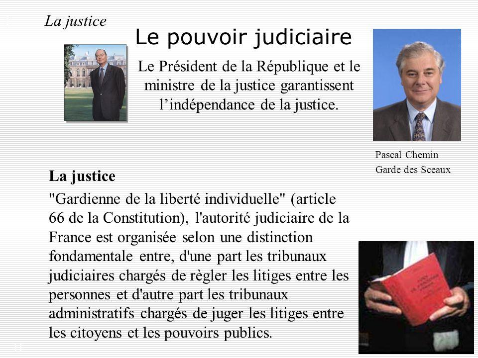 11 Le pouvoir judiciaire La justice Le Président de la République et le ministre de la justice garantissent lindépendance de la justice. I. La justice