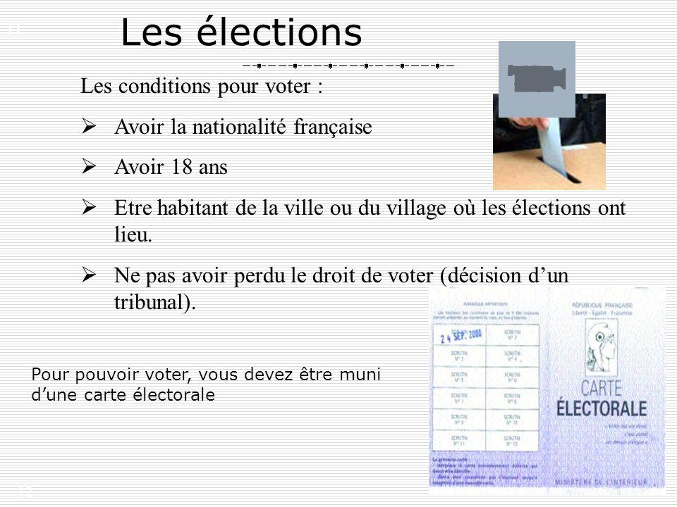 12 Les élections Les conditions pour voter : Avoir la nationalité française Avoir 18 ans Etre habitant de la ville ou du village où les élections ont