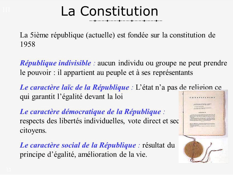 13 La Constitution La 5ième république (actuelle) est fondée sur la constitution de 1958 République indivisible : aucun individu ou groupe ne peut pre
