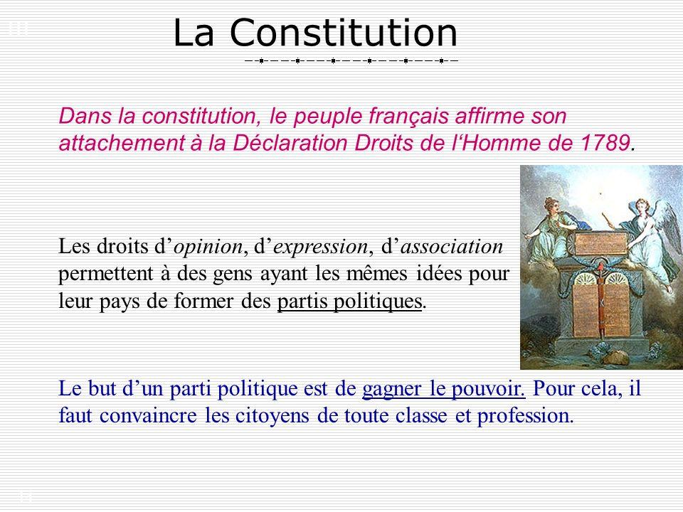 14 La Constitution Dans la constitution, le peuple français affirme son attachement à la Déclaration Droits de lHomme de 1789. Les droits dopinion, de