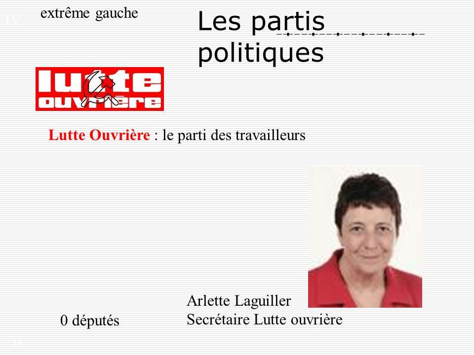 15 Les partis politiques extrême gauche Lutte Ouvrière : le parti des travailleurs Arlette Laguiller Secrétaire Lutte ouvrière 0 députés IV.