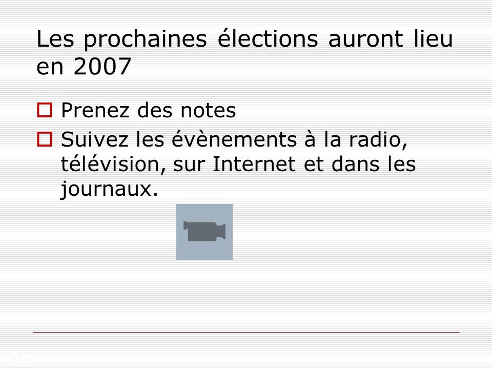 24 Les prochaines élections auront lieu en 2007 Prenez des notes Suivez les évènements à la radio, télévision, sur Internet et dans les journaux.