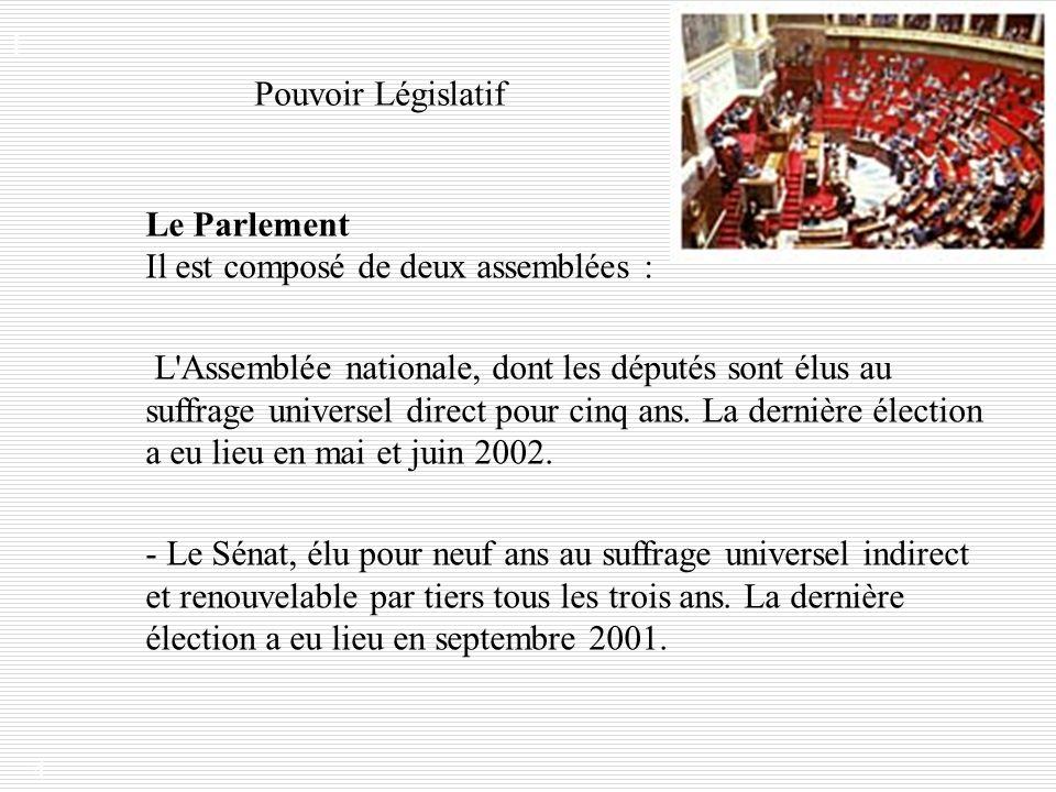 4 Le Parlement Il est composé de deux assemblées : - Le Sénat, élu pour neuf ans au suffrage universel indirect et renouvelable par tiers tous les tro