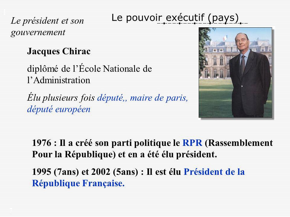 7 Le pouvoir exécutif (pays) Le président et son gouvernement Jacques Chirac diplômé de lÉcole Nationale de lAdministration Élu plusieurs fois député,