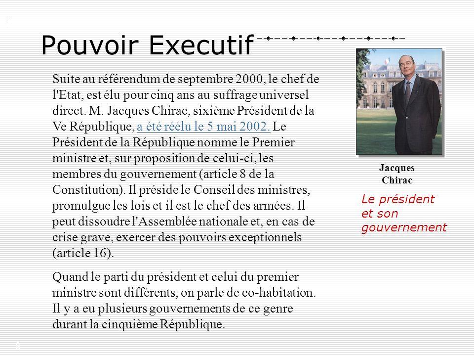 8 Suite au référendum de septembre 2000, le chef de l'Etat, est élu pour cinq ans au suffrage universel direct. M. Jacques Chirac, sixième Président d
