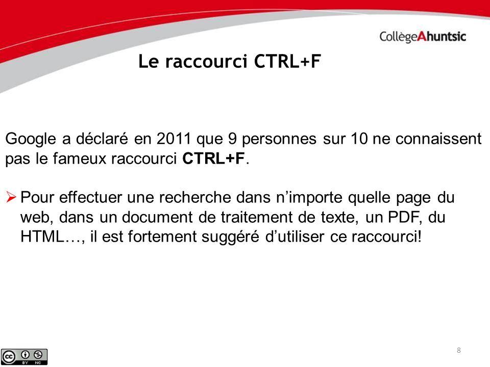 8 Le raccourci CTRL+F Google a déclaré en 2011 que 9 personnes sur 10 ne connaissent pas le fameux raccourci CTRL+F. Pour effectuer une recherche dans