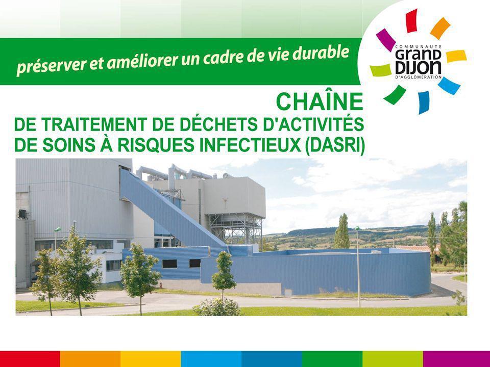 LES OBJECTIFS Réaliser une unité de traitement de DASRI en Bourgogne produits par les établissements de soins publics et privés ainsi que le secteur diffus, en adéquation avec le PREDAS (Plan Régional dElimination des Déchets dActivités de Soins) approuvé en 2004 Limiter les transports de déchets vers des unités éloignées des centres et territoires de production ainsi que les coûts et les nuisances associés.