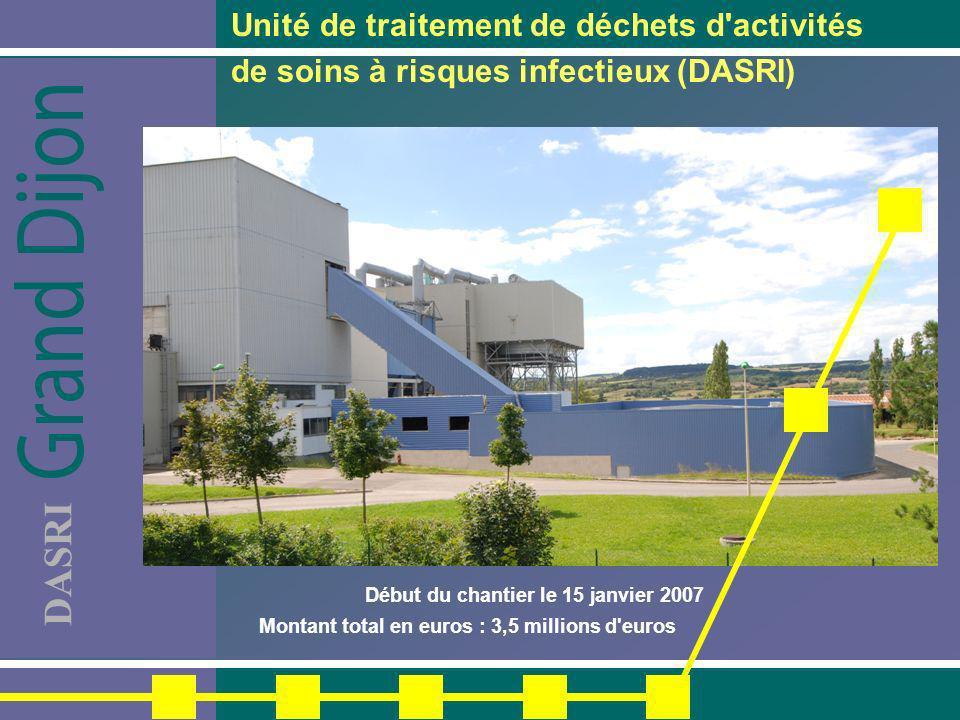 DASRI Unité de traitement de déchets d'activités de soins à risques infectieux (DASRI) Début du chantier le 15 janvier 2007 Montant total en euros : 3