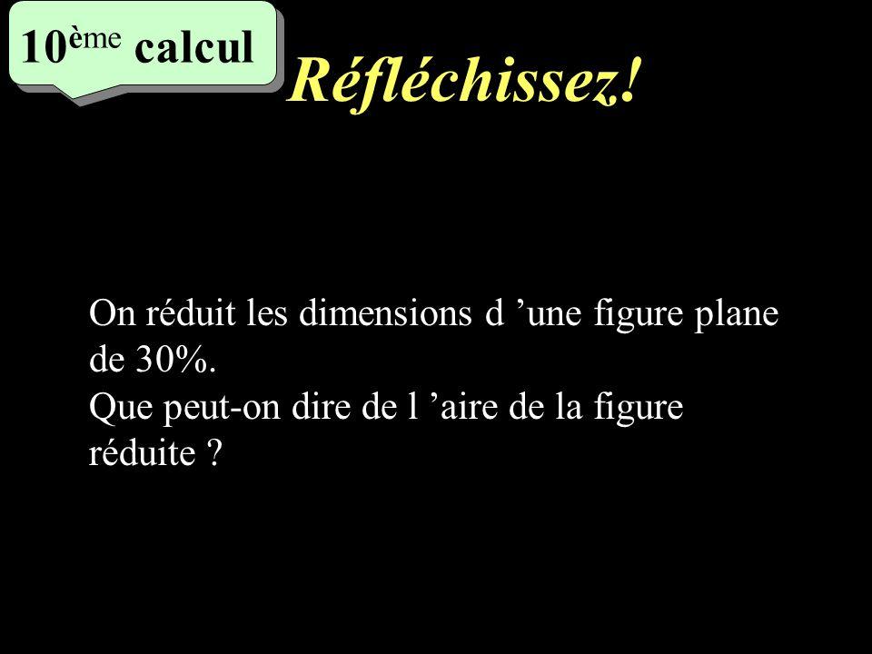 Ecrivez ! 5 eme calcul 5 eme calcul 9 ème calcul On réalise lagrandissement d une figure plane en augmentant ses dimensions de 40%. Montrer que son ai