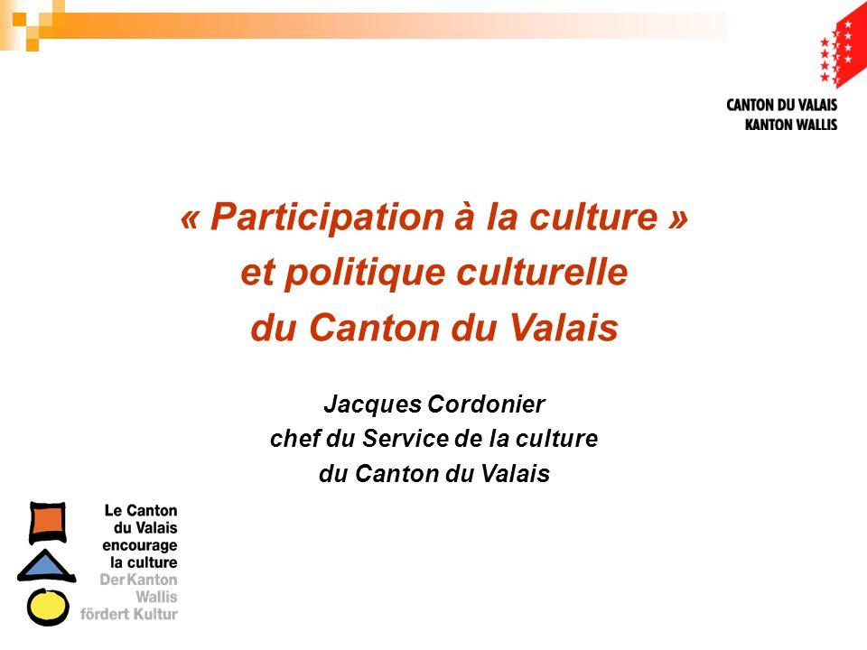 Définition « La culture, cest tout ce qui permet de se situer par rapport au monde, à la société, mais aussi par rapport à son patrimoine natal; cest tout ce qui contribue à ce que lhomme comprenne mieux sa situation, dans léventuel but de la modifier » Conseil de lEurope, Point 1.2 de la Politique dencouragement culturel du Canton du Valais (2007)