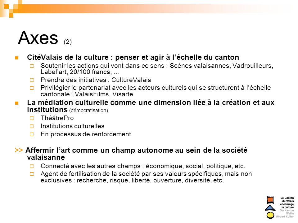 Axes (2) CitéValais de la culture : penser et agir à léchelle du canton Soutenir les actions qui vont dans ce sens : Scènes valaisannes, Vadrouilleurs