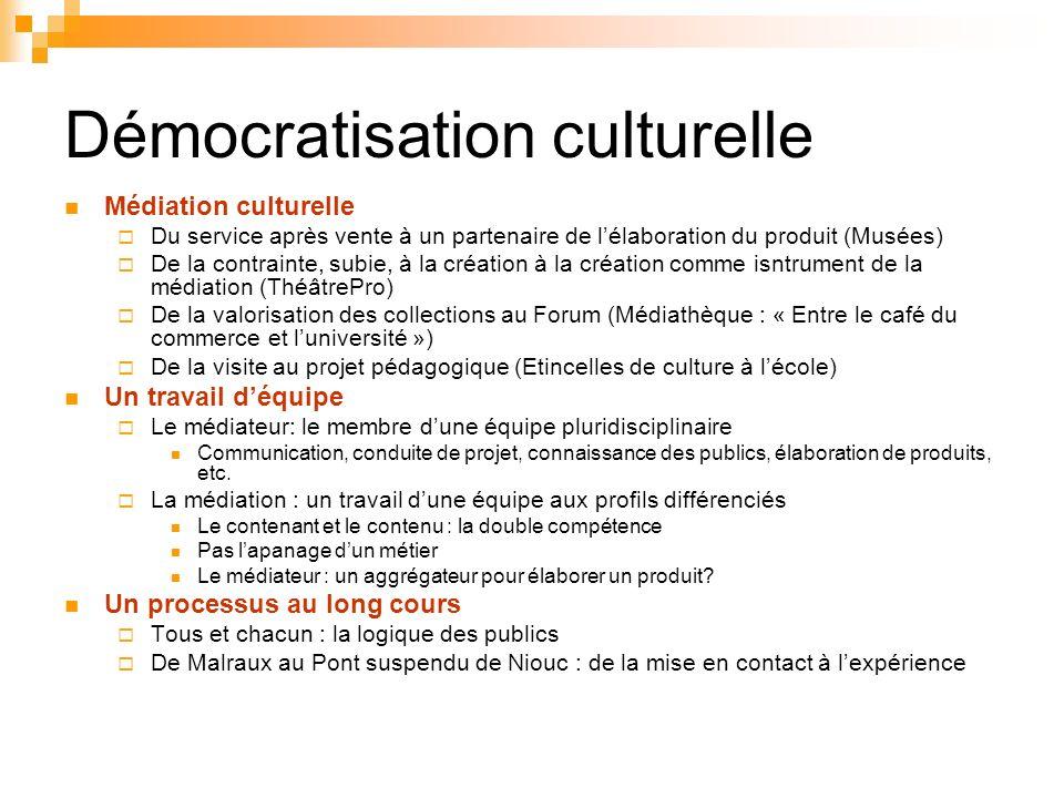 Démocratisation culturelle Médiation culturelle Du service après vente à un partenaire de lélaboration du produit (Musées) De la contrainte, subie, à