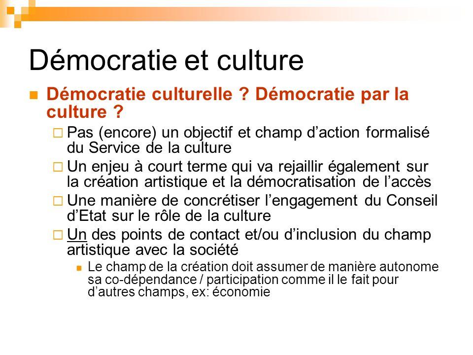 Démocratie et culture Démocratie culturelle ? Démocratie par la culture ? Pas (encore) un objectif et champ daction formalisé du Service de la culture
