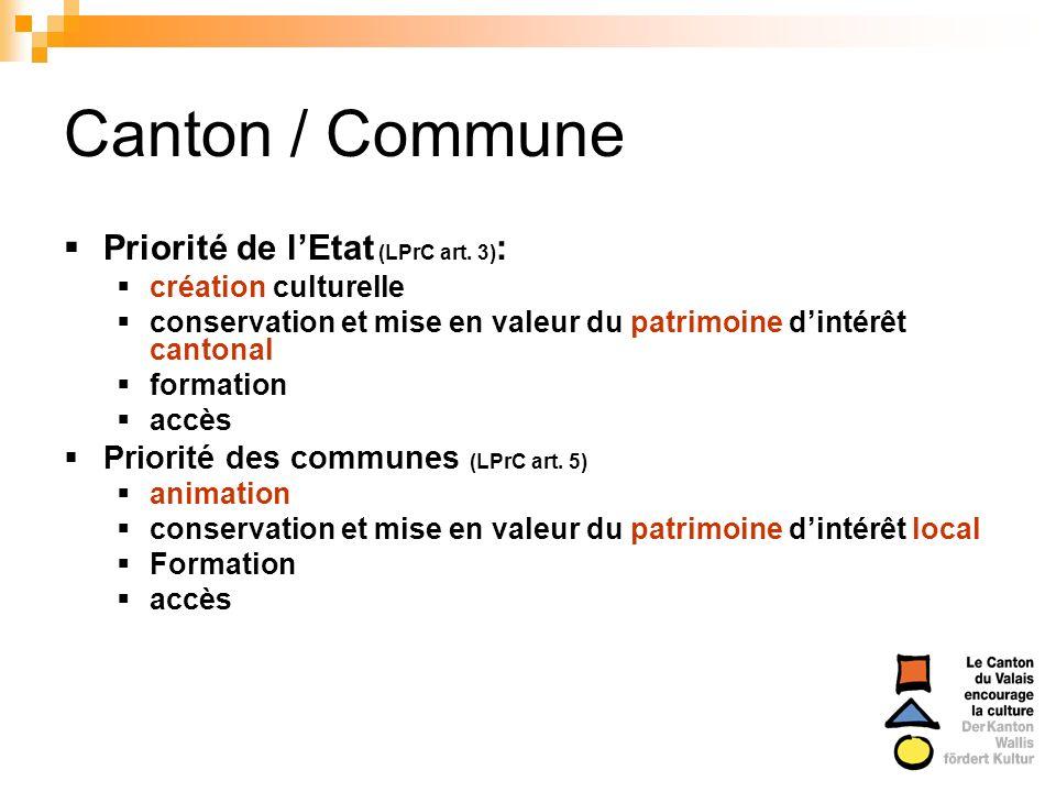 Canton / Commune Priorité de lEtat (LPrC art. 3) : création culturelle conservation et mise en valeur du patrimoine dintérêt cantonal formation accès