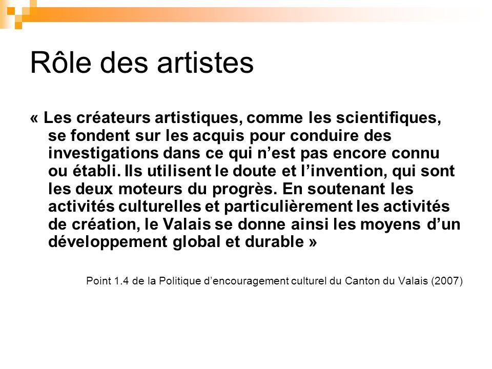 Rôle des artistes « Les créateurs artistiques, comme les scientifiques, se fondent sur les acquis pour conduire des investigations dans ce qui nest pa