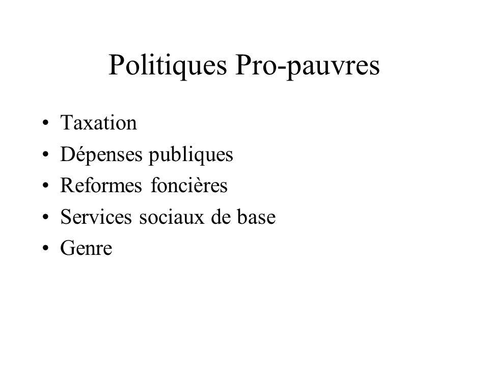Politiques Pro-pauvres Taxation Dépenses publiques Reformes foncières Services sociaux de base Genre
