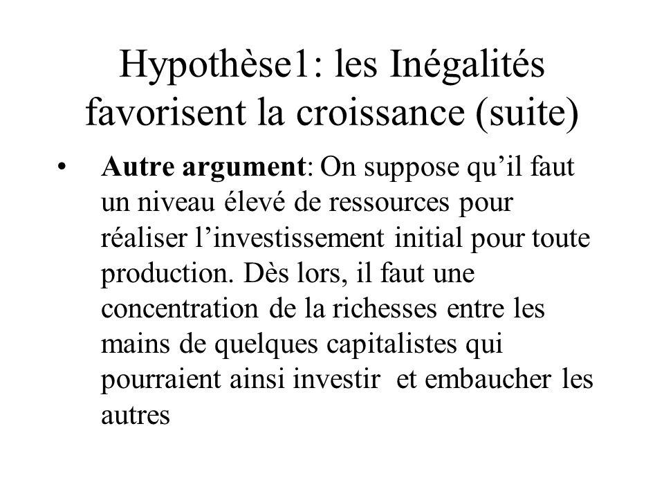 Hypothèse1: les Inégalités favorisent la croissance (suite) Autre argument: On suppose quil faut un niveau élevé de ressources pour réaliser linvestissement initial pour toute production.