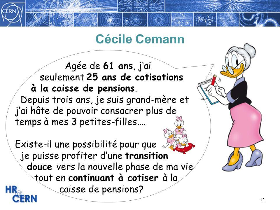 10 Cécile Cemann Agée de 61 ans, jai seulement 25 ans de cotisations à la caisse de pensions. Depuis trois ans, je suis grand-mère et jai hâte de pouv
