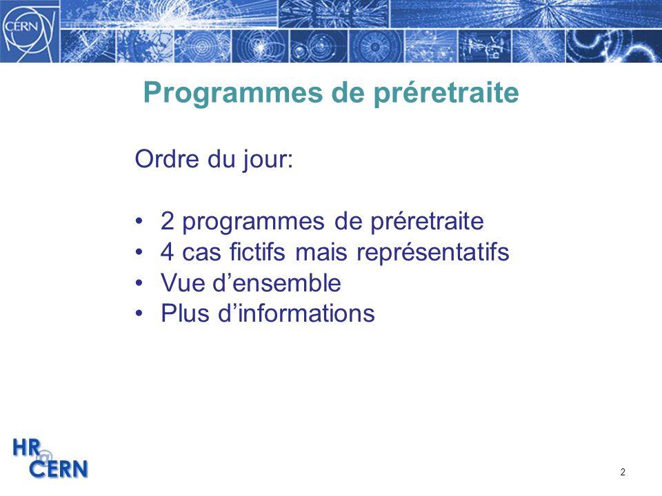 3 2 Programmes de préretraite Pour: faciliter la transition vers la retraite encourager le rajeunissement du personnel transmettre le savoir-faire Programme de travail à temps partiel comme mesure de préretraite depuis 1993; renouvelable annuellement le 31.12.