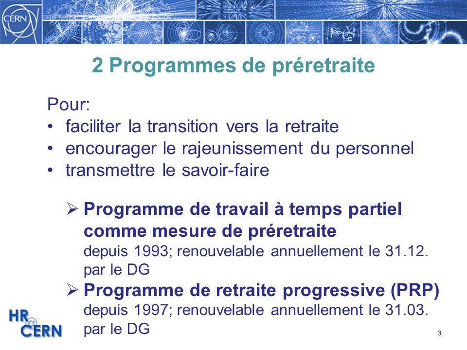 3 2 Programmes de préretraite Pour: faciliter la transition vers la retraite encourager le rajeunissement du personnel transmettre le savoir-faire Pro