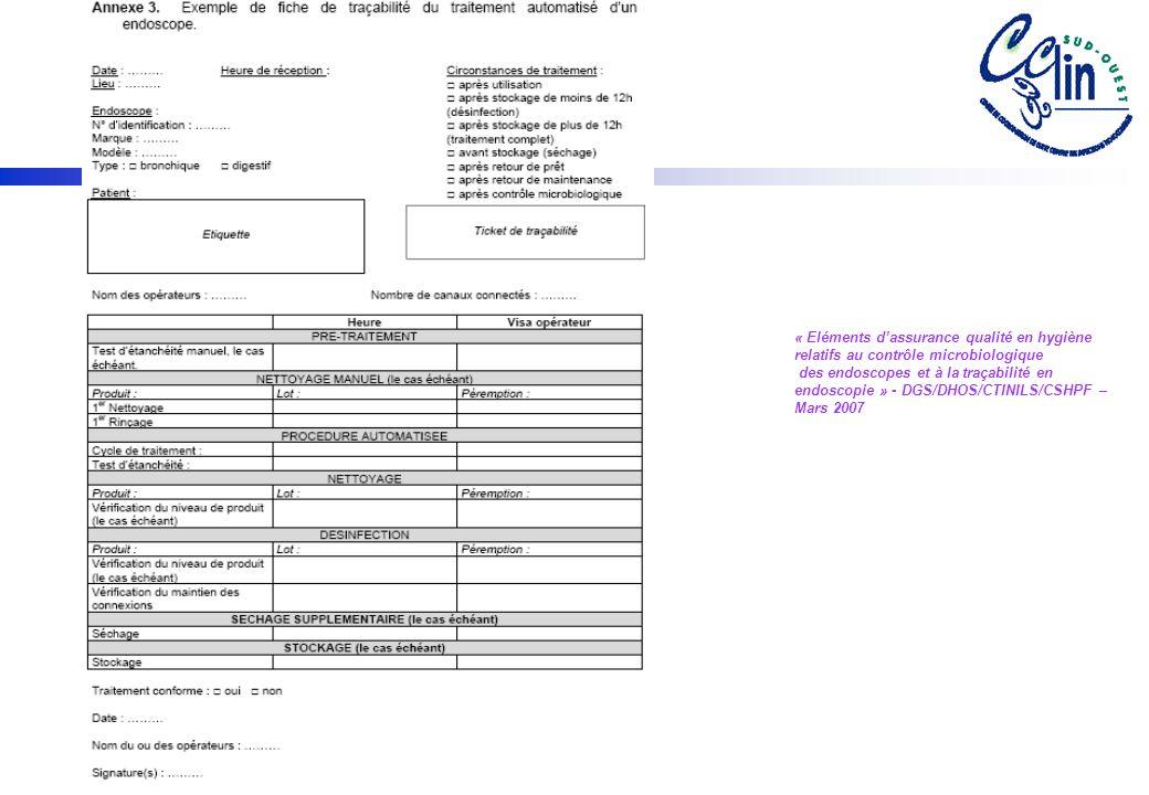 « Eléments dassurance qualité en hygiène relatifs au contrôle microbiologique des endoscopes et à la traçabilité en endoscopie » - DGS/DHOS/CTINILS/CSHPF – Mars 2007
