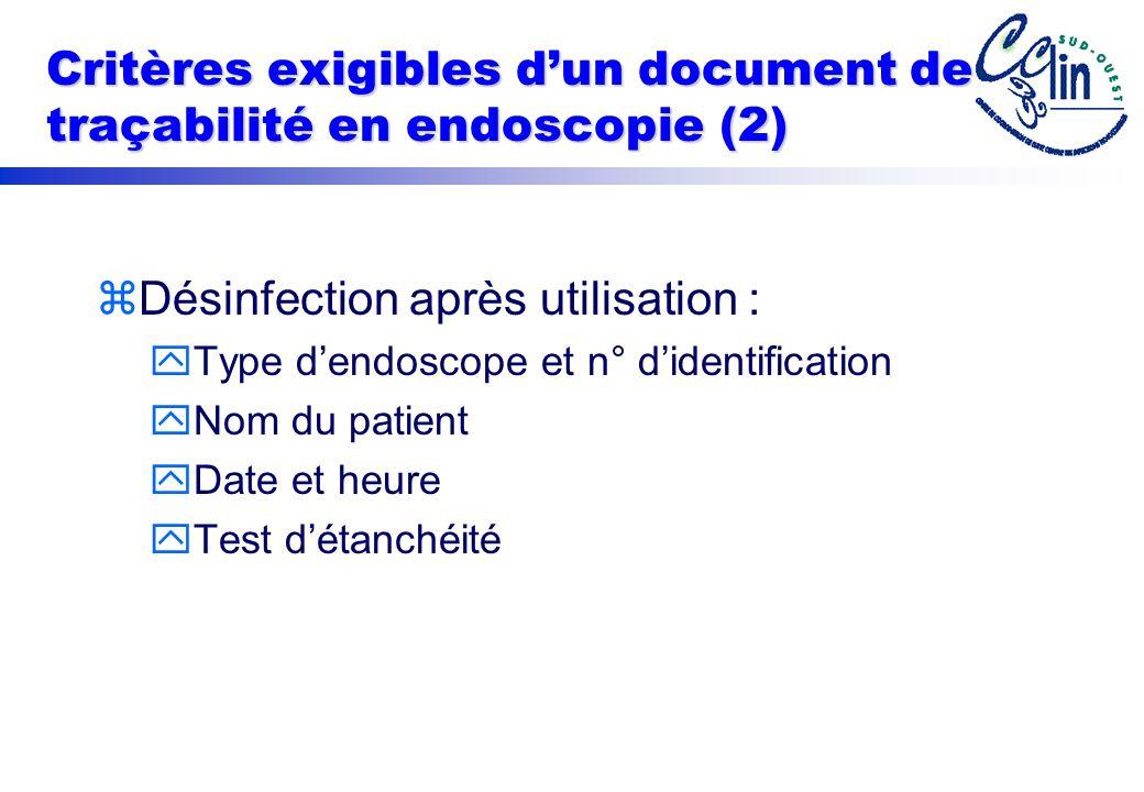 Critères exigibles dun document de traçabilité en endoscopie (2) zDésinfection après utilisation : yType dendoscope et n° didentification yNom du patient yDate et heure yTest détanchéité