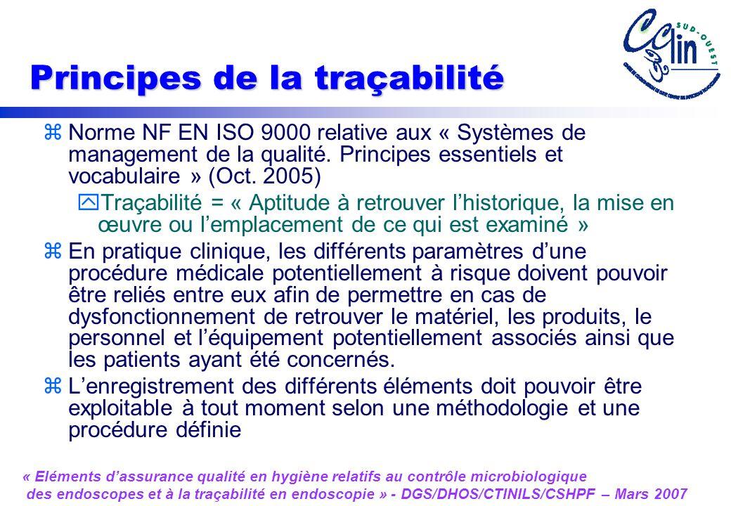 Principes de la traçabilité zNorme NF EN ISO 9000 relative aux « Systèmes de management de la qualité.