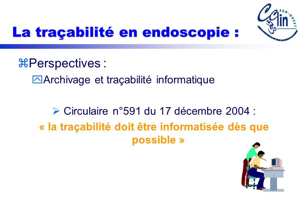 La traçabilité en endoscopie : zPerspectives : yArchivage et traçabilité informatique Circulaire n°591 du 17 décembre 2004 : « la traçabilité doit être informatisée dès que possible »